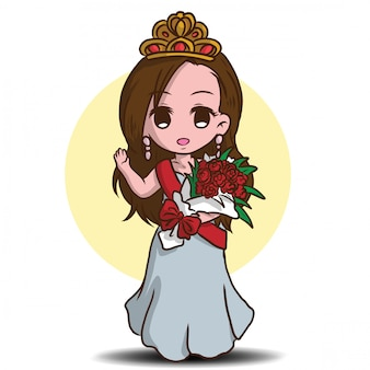 Cute beauty pageant cartoon character.