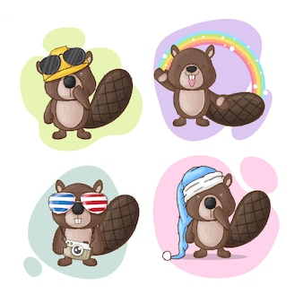 Cute beaver cartoon collection hand drawn style