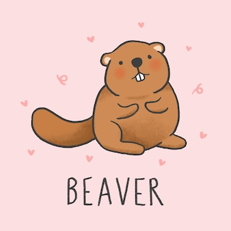 Cute beaver cartoon hand drawn style