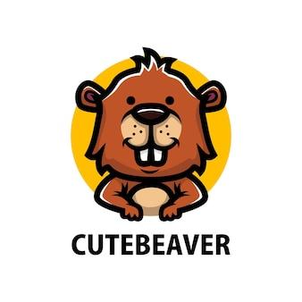 かわいいビーバーの漫画のロゴ