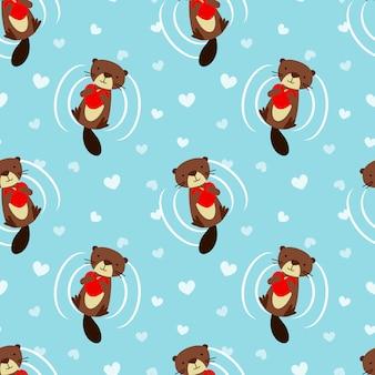 Cute beaver hold a heart seamless pattern.