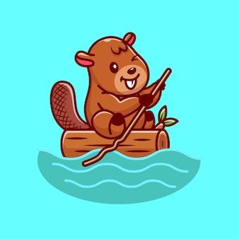 Cute beaver on river cartoon illustration