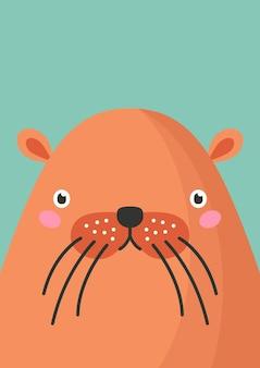 귀여운 비버 주둥이 평면 벡터 일러스트 레이 션. 사랑스러운 야생 숲 동물 총구 만화 화려한 배경입니다. 야생 비버 머리를 닫고 장식적인 배경을 마주합니다. 유치한 동물원 카드 디자인 아이디어.