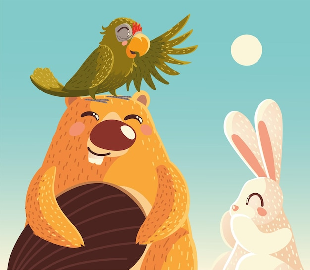 Милый бобер с попугаем и кроликом в солнечный день мультфильм животных векторная иллюстрация
