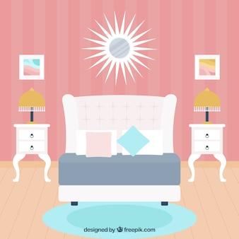 Симпатичная спальня с розовой стеной