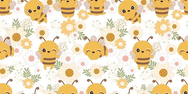 어린이 패브릭 벽지 등을 위한 귀여운 꿀벌과 꽃 원활한 패턴