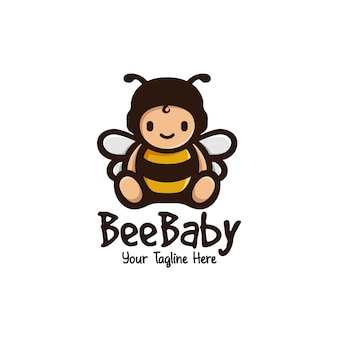 Cute bee baby mascot logo
