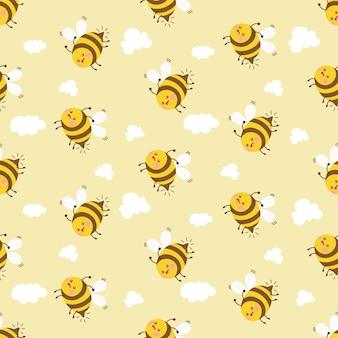 귀여운 꿀벌 만화 캐릭터 완벽 한 패턴