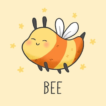 Cute bee cartoon hand drawn style