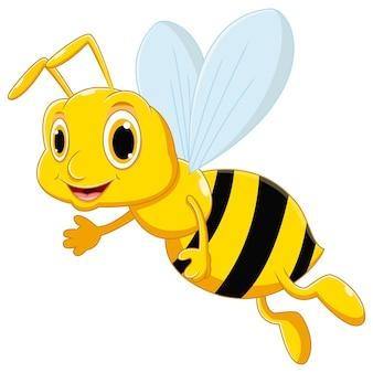 Милый мультфильм пчелы машет рукой