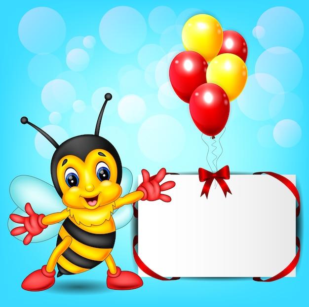 Cute bee cartoon with baloon