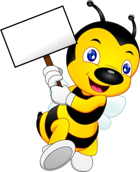 Cute bee cartoon with blank sign or placard