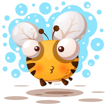 Cute, bee characters. cartoon illustration.
