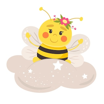 Cute bee on a cloud.   illustration in flat style.