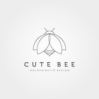 귀여운 꿀벌 크리에이 티브 아이콘 로고 벡터 기호 그림 디자인, 곤충 로고 최소한의 디자인