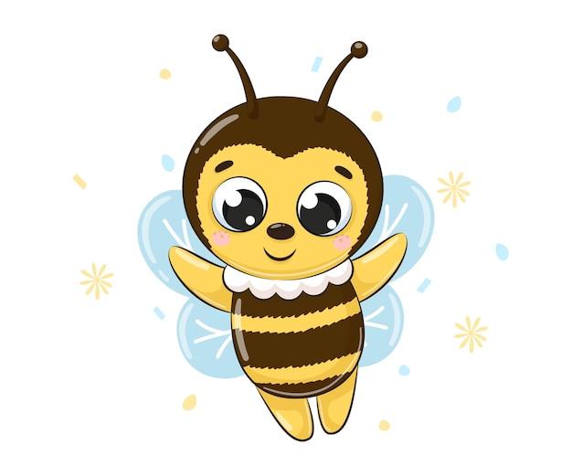 Симпатичные пчелы летят и улыбается. векторные иллюстрации шаржа.