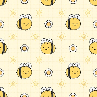 Cute bee and flower seamless pattern background
