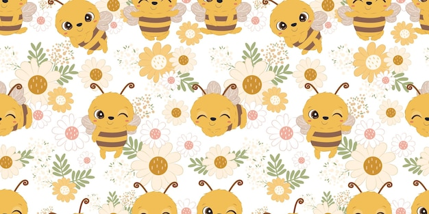 Cute bee and flower seamless pattern for children fabric wallpaper and many more Premium Vector
