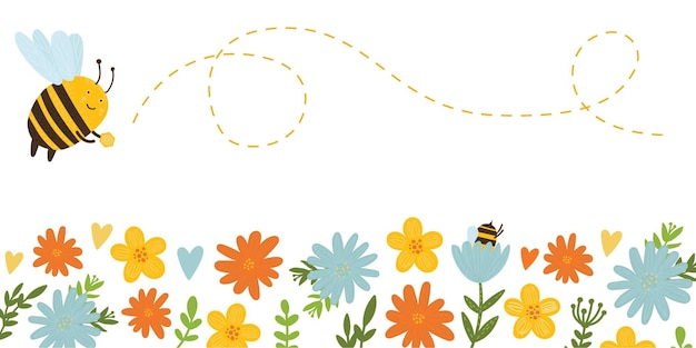Cute bee and flowers bee collects honey