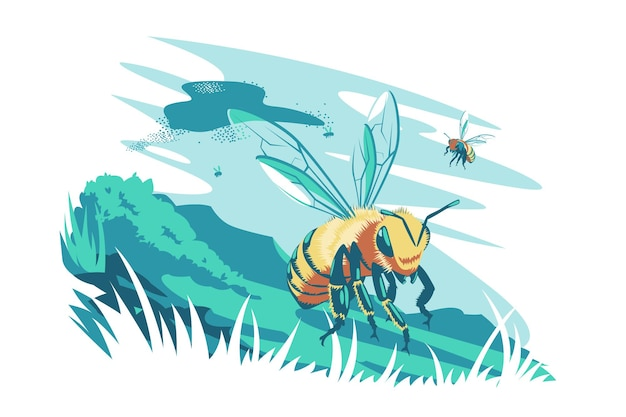 Cute bee flying in air vector illustration bee insect discover new meadow flat style flock of bees wild nature and animal creature concept isolated