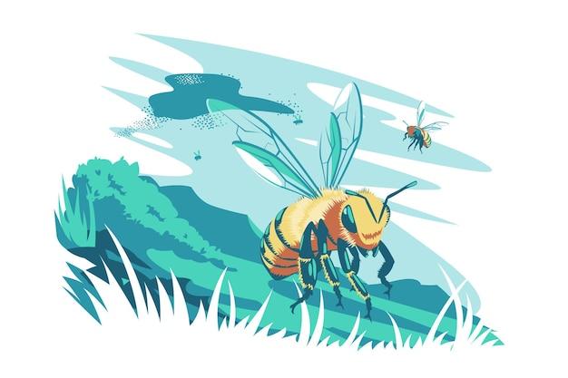 공기 벡터 일러스트 레이 션 꿀벌 곤충 비행 귀여운 꿀벌 꿀벌 야생 자연과 동물 생물 개념 절연의 새로운 초원 평면 스타일 무리를 발견