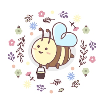 Cute bee flying with honey