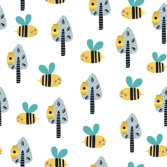 Cute bee in the forest seamless pattern illustration Premium Vector