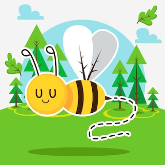 Cute bee in the forest