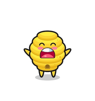 Cute bee hive mascot with a yawn expression , cute design