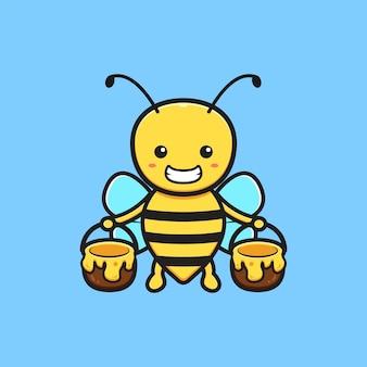 蜂蜜の漫画アイコンイラストの瓶を保持しているかわいい蜂。孤立したフラット漫画スタイルをデザインする