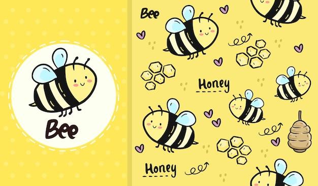 Cute bee and honey seamless pattern   cartoon Premium Vector