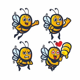 Cute bee honey vector set bundle