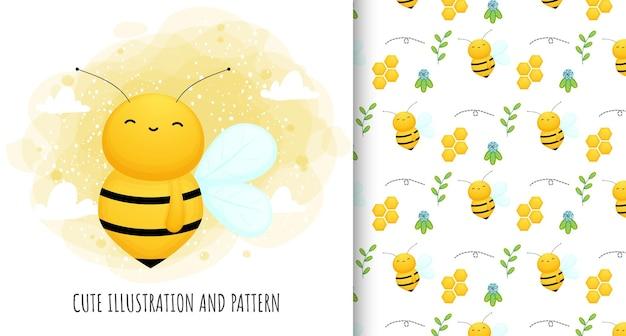かわいい蜂のイラストとパターン