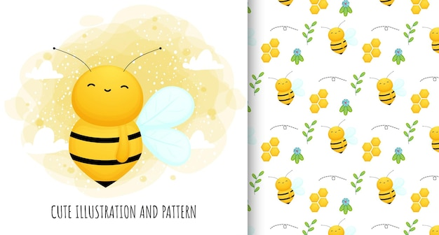Cute bee illustration and pattern