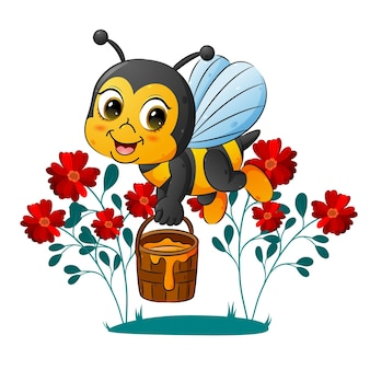 The cute bee is holding a pail of honey   illustration