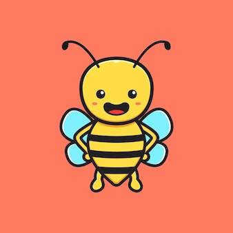 かわいい蜂のマスコットキャラクター漫画アイコンイラスト。孤立したフラット漫画スタイルをデザインする