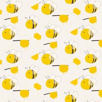 귀여운 꿀벌 패턴 배경입니다.