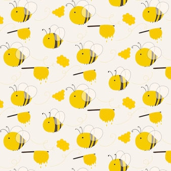 Cute bee pattern background.
