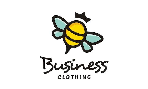 Cute bee queen logo design