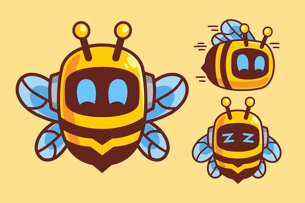 Симпатичные пчелы робот мультипликационный персонаж