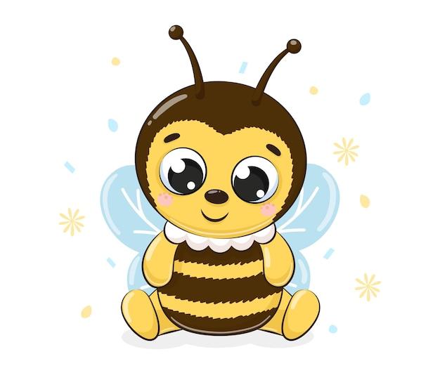 Милая пчела сидит и улыбается. векторные иллюстрации шаржа.