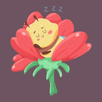 배경에 고립 된 꽃 벡터 만화 캐릭터에 귀여운 꿀벌 잠.