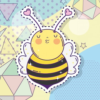 Cute bee sticker with stars and geometric figures