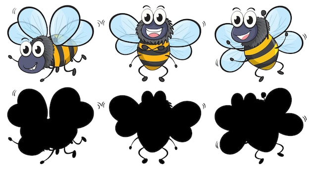 Cute bee in three positions with its silhouette on white background