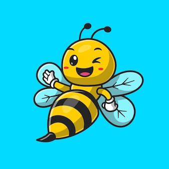 Cute bee waving hand cartoon vector icon illustration. animal nature icon concept isolated premium vector. flat cartoon style
