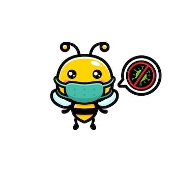 마스크를 쓰고 귀여운 꿀벌