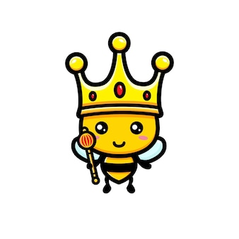 Cute bee wearing king crown