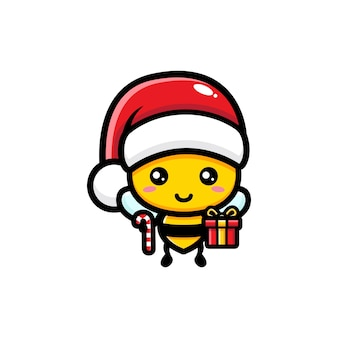 산타 모자를 쓰고 귀여운 꿀벌