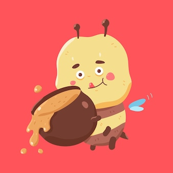 Cute bee with honey pot vector cartoon character isolated on background.