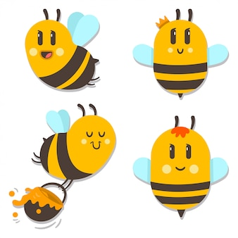 Cute bee with honey vector cartoon character set isolated